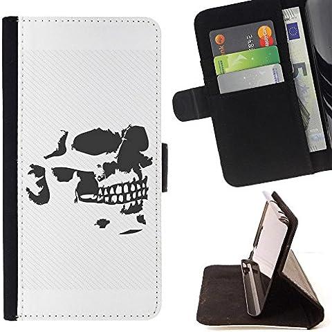 HTC ONE E9+ / E9 Plus / A55 , Nero Creepy Gangster Skull - Portafoglio in pelle della Carta di Credito fessure PU Holster Cover in pelle case