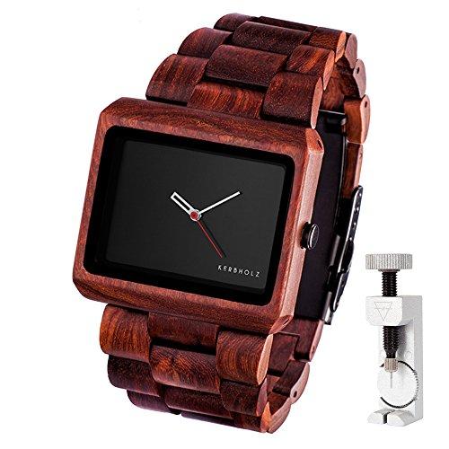 KERBHOLZ Reineke, handgefertigte Armbanduhr + exklusives Fachwerkzeug zum Anpassen des Armbandes - Rot Braun (Rosenholz)