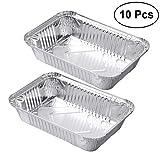 bestomz Lámina de aluminio desechables bandejas recipientes gran lata de comida rápida para hornear más paquete de 10