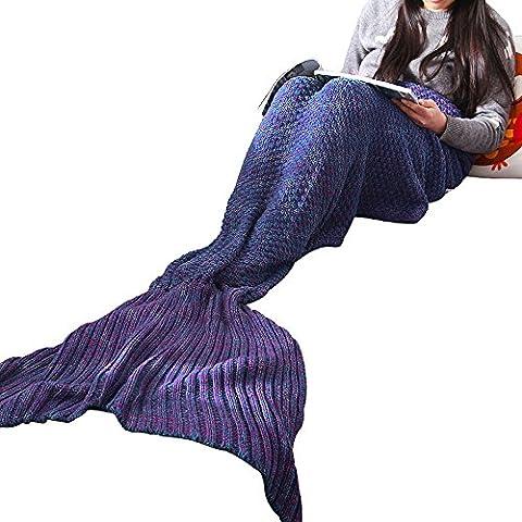Verzeihen Sie - Meerjungfrau-Endstück-Decke, handgemachte Häkelarbeit-Decken, Schlafsack für Kinder und Erwachsene, alle Jahreszeiten Gebrauch im Bett, im Sofa oder im Reisen ( Color : Purple 80*190cm )