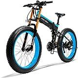 Bici Elettrica Mens Mountain-Bike per Adulti E Batteria al Litio Lega di Alluminio E-Bicicletta 21 velocità Freni A Disco Bici 26In Fat Tire Bicicletta della Strada Neve con Display A LED,500W48V15AH
