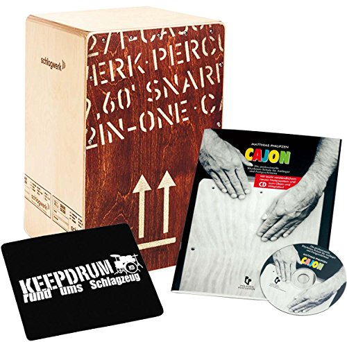 Price comparison product image SCHLAGWERK 2INONE SNARE CP 404 Red Cajon Large + Book Rhythm Training with CD + Keepdrum Sitting