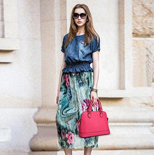 X&L Krokodil-Muster Mode Frauen Diagonale Schulter Leder Handtasche rose red