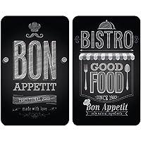 Wenko 2521483100 Set de 2 Protège-Plaque 30x52 cm en Verre - Motif Bon Appétit