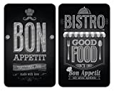 WENKO 2521483100 Protège-plaque universel Bon Appétit - lot de 2, pour tous les types de cuisinières, Verre trempé, 30 x 52 cm, Multicolore