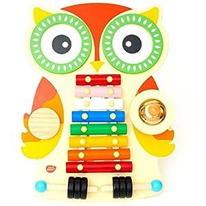Tavolo Musicale in legno a forma di gufo, xilofono, 2 tamburi, piatto/guiro, 2 Bacchette. Glockenspi