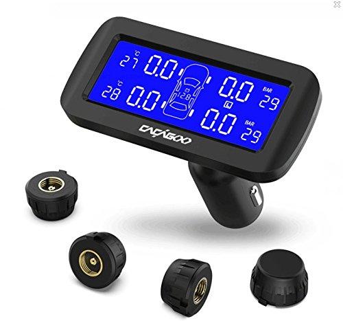 Cacagoo tpms sistema monitor pressione pneumatico da auto senza fili cr1632 batteries funzione di allarme con display lcd 4 sensori esterni selezione unità bar psi nero