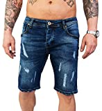 Rock Creek Herren Shorts Jeansshorts Denim Stretch Sommer Shorts Regular Slim [RC-2130 - Destroyed Look W40]