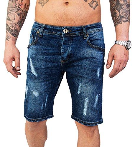 Rock Creek Herren Shorts Jeansshorts Denim Stretch Sommer Shorts Regular Slim [RC-2130 - Destroyed Look W38]