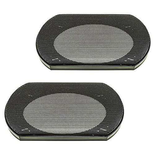 tomzz Audio 2800-005 Lautsprecher Gitter Grill für 4 x 6 Zoll Lautsprecher, schwarz, 2-teilig Kunststoffring mit Metallgitter, Satz