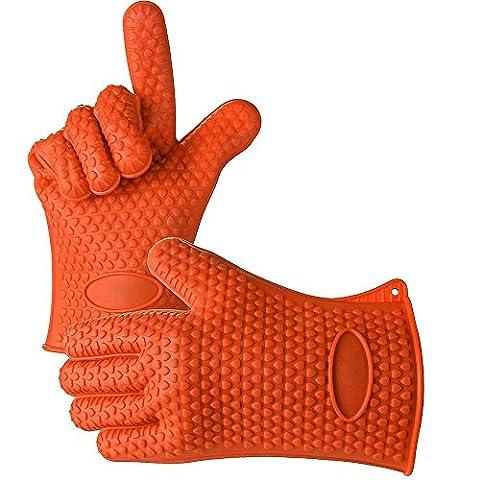 hitzebeständiges Silikon Handschuh, tianranrt Küche hitzebeständig Silikon Topflappen Ofen Handschuh Backen BBQ Kochen Mitt Orange