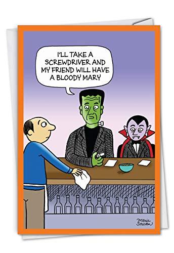 Monster Drinks: Lustige Halloween-Grußkarte mit einigen berühmten Monstern an einer Bar, mit Umschlag. C7087HWG (Drucken Zu Halloween-karten Lustige)