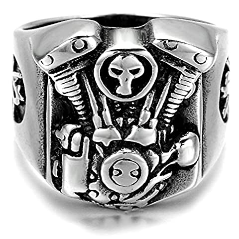 Stainless Steel Ring for Men, Motor Ring Gothic Silver Band 15*20MM Size Z 1/2 Epinki