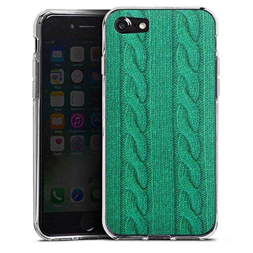 Apple iPhone X Silikon Hülle Case Schutzhülle Wolle Look Strick Grün Silikon Case transparent
