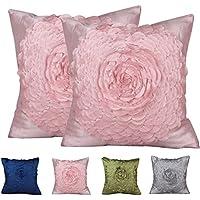PLANDV Funda de Almohada Decorativa Floral Sólida de 2 Colores, en Diferentes Colores 40x40cm (Pattern 3 Pink)