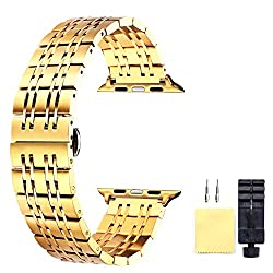Apple Watch Band 42mm Gold Quick Release Replacement Strap For Apple Watch Series 3 2 1