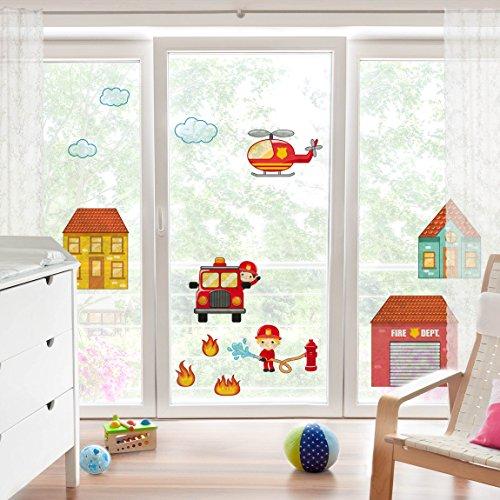 Bilderwelten Fenstersticker Feuerwehr Set Mit Häusern Kinderzimmer  Fenstersticker Fensterfolie Fenstertattoo Fensterbild Fenster Deko  Fensteraufkleber
