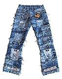 TICILA Seven Star Herren Jeans blau Designer Rock Star Patchwork Denim W33/L32