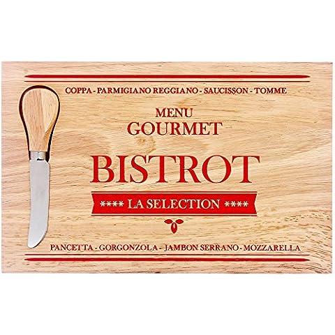 Promobo - Planche A Découper Plateau Fromage Avec Couteau Encastrable En Bois Massif Bistrot Rouge
