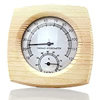 Dequate Thermometer, humidity thermometer, Sauna Wooden Room Hygrometer Humidity Monitor and Temperature Gauge Meter