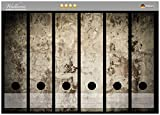 Wallario Ordnerrücken Sticker Alte Schmutzige Wand aus Beton mit abblätternder Farbe in Premiumqualität - Größe 36 x 30 cm, passend für 6 breite Ordnerrücken
