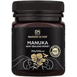 Watson & Son zertifizierter Manuka-Honig MGO 400+ (250g) • Premium Qualität • reines Naturprodukt • antibakteriell aktiv • mit kontrolliertem Methylglyoxal-Gehalt • Direktimport aus Neuseeland