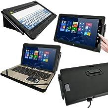 """igadgitz Negro 'Portfolio' Eco-Piel Case Cover para Asus Vivo Tab TF810C TF810 11.6"""" Windows 8 Tablet & Base Dock Teclado"""