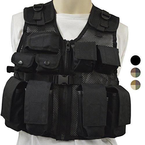 Nitehawk - Gilet tactique/de combat - style militaire/police - enfant - Noir