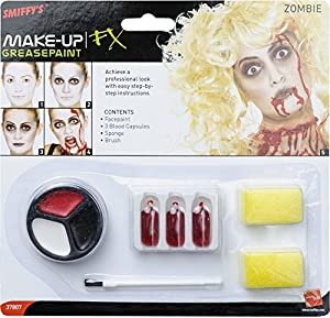 Smiffys Set de Maquillaje de Zombi, Incluye Pintura para la Cara, cápsulas de Sangre y Esponja