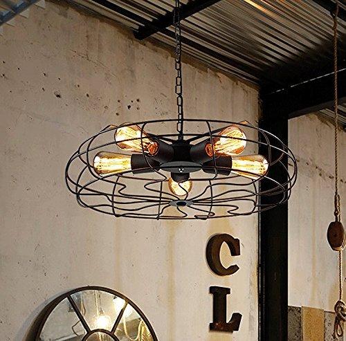 Rechteck-lampe Perlen (Hines 5X40W Edison Retro Deckenlampe Hängelampe Metall Vintage Industrie Geeignet für Scheune [Energieklasse E])