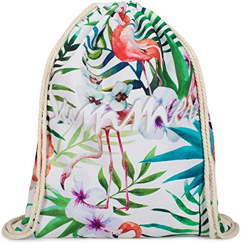 styleBREAKER Tropic Turnbeutel mit All Over Flamingo, Blumen, Blüten, Palmen, 'Summer' Statement Print, Rucksack, Sportbeutel, Beutel, Unisex 02012237, Farbe:Mehrfarbig (Ananas-palme)