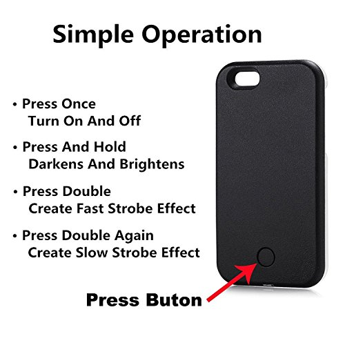 Selfie Licht iPhone Hülle,5 Blitzmodi Licht Beleuchtet Selfie Handyhülle, LED Dimmbare Hülle für iPhone (iPhone 6 6s Plus 5.5inch, Rose Gold) Weiß