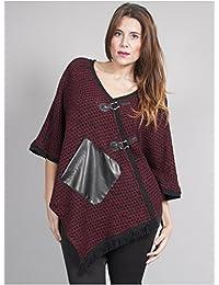 Edmond Boublil - Vêtement Femme Grande Taille Poncho Filet Rouge Noir
