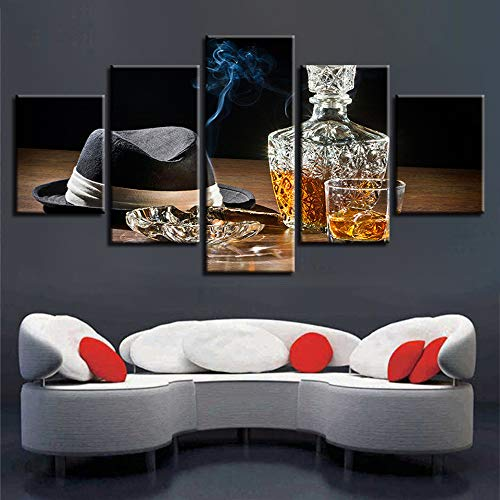 Celi Canvas prints Leinwanddrucke Whiskey-Zigarette 5 Panels 150X80Cm Moderne Wandkunst Bild Abstrakte Pop Art Malerei Foto Für Badezimmer Wohnzimmer -