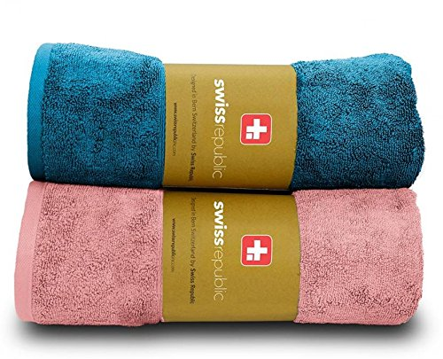 Swiss Republic Bath Towels Set- Signature collection 600 GSM made with 100% ring spun extra soft cotton with quick dry and double stitch line for extra long durability - set of 2 bath towels with 2 YEARS replacement GUARANTEE - Light Pink/Blue