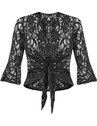 nouvelles dames plus la taille ficeler 3/4 évasée manche haussement d'épaules dentelle sequin bolero top, Black, 48/50