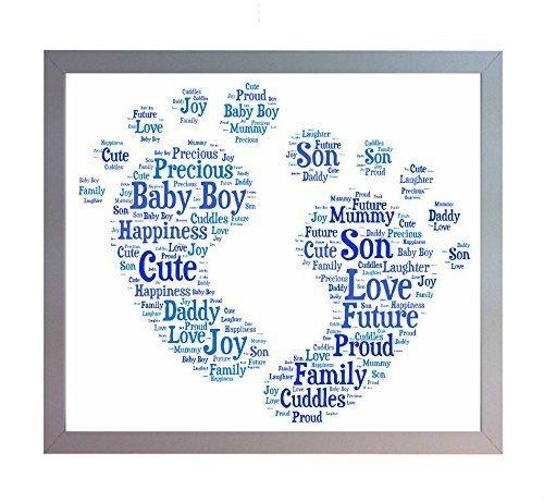 Encadré New Baby Boy Marchepied Décoration Mot Baby Boy A4 Print. Photo cadeau souvenir pour Papa, Maman, frère/sœur ou famille de bébé Cadeau de Baby Shower.