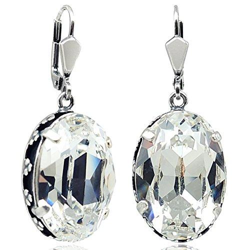 Jugendstil Ohrringe mit Kristallen von Swarovski® Silber Crystal NOBEL SCHMUCK