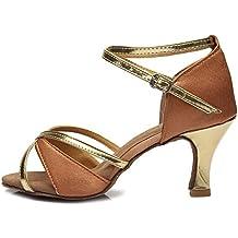 YKXLM Mujeres&Niña Zapatos latinos de baile Zapatillas de baile de salón Salsa Tango Performance Calzado de Danza,Modelo ES225/805