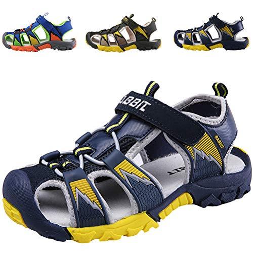 DADAWEN Boy's Girl's Summer Breathable Athletic Closed-Toe Strap Sandals (Toddler/Little Kid/Big Kid) Dark Blue US Size 9 M Toddler Toe-strap Sandal