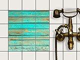 creatisto Fliesen Aufkleber Folie Sticker selbstklebend | Mosaikfliesen Dekorsticker Küche renovieren Bad Wandtattoo | 10x10 cm Muster Ornament Wooden Aqua - 9 Stück