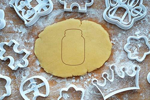 Glas Jar Ausstechform Ausstecher 6cm Keksausstecher Bottle Vorratsglas Backen Plätzchen Cookie Cutter Fondant