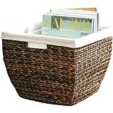 Shopcenter2000 - Revistero (cesta de algas, interior revestido de tela)