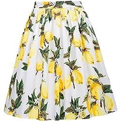 GRACE KARIN Falda Limones Plisada Pin up para Fiesta L 23#