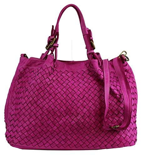 BZNA Rene Bag fuxia Italy Designer Damen Handtasche Schultertasche Tasche Schafsleder Shopper Neu -