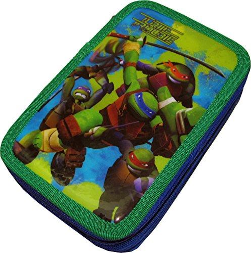 Estuche Escolar 3cremallera Original Ninja Turtles–Conjunto de 45piezas