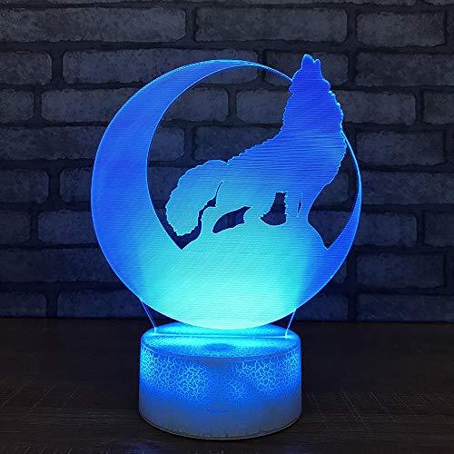 LED 3d Licht Wolf Nachtlicht Laterne Halloween Geschenk Weißer Sockel Lovely Kids Lamp