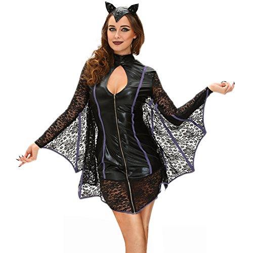 Keluosaiii Costume Robes Robes Noir Halloween étape Crème Haute Dentelle Sexy Scène chauves-Souris,Black,L