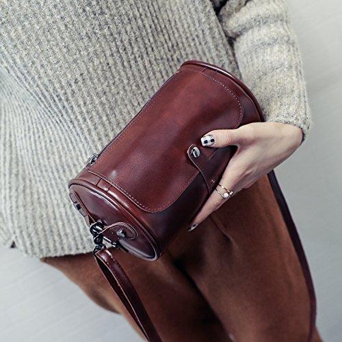 LiZhen seppia barili nuovi pacchetti coreano moda borse donna minimalista stile selvaggio tracolla messenger bag tide, grigio Marrone scuro