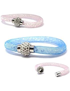 Primaneo Glitzer-Armband mit Magnetverschluss - Armband mit Plastikkristallen
